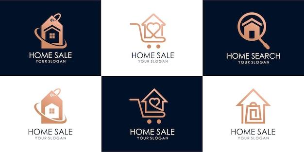 Ensemble de maison de magasin, recherche de maison, vente chaude, maison d'escompte, vente à la maison. modèle de conception de logo. vecteur premium partie 4
