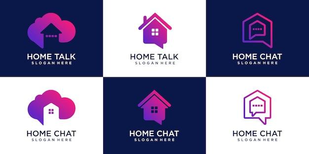 Ensemble de maison maison chat logo logos icon design