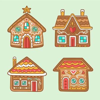 Ensemble de maison en pain d'épice dessiné à la main
