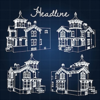 Ensemble maison de ville privée de la fin du 19e et du début du 20e siècle. illustration d'un croquis dans le manuel de style.