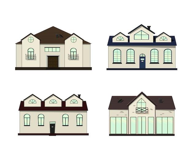 Ensemble de maisons sur blanc