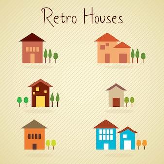 Ensemble de maisons de couleurs rétro sur fond vintage