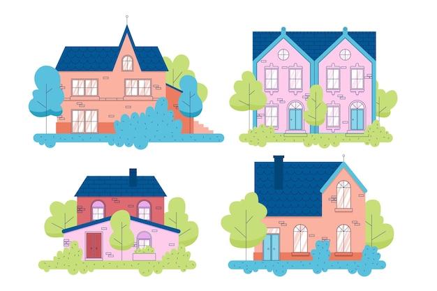 Ensemble de maisons différentes minimes