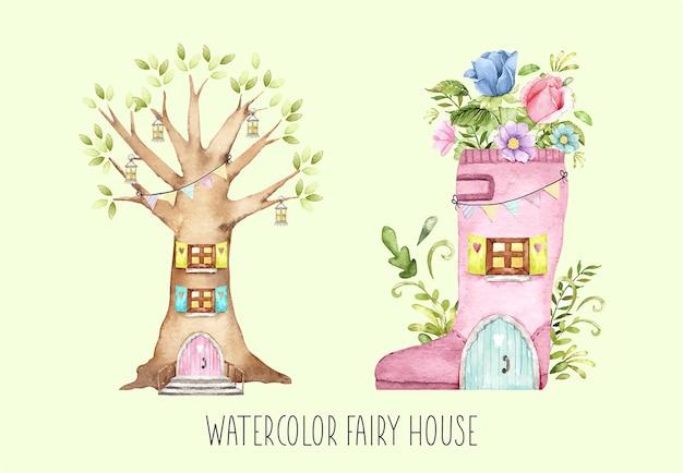 Ensemble de maisons de fées aquarelle