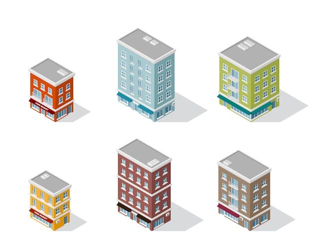 Ensemble de maisons isométriques détaillées isolé sur fond blanc. bâtiment de ville low poly, icône isométrique ou élément infographique pour la création de plan de ville