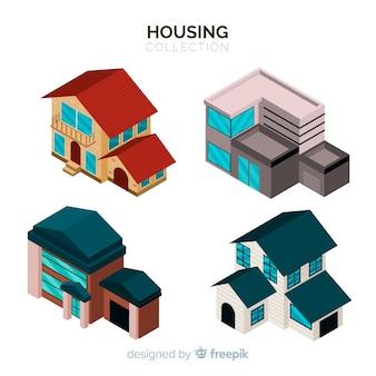 Ensemble de maisons isométriques