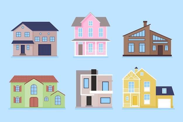 Ensemble de maisons modernes illustrées