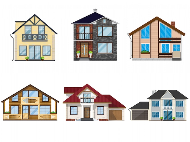 Ensemble de maisons de vecteur d'illustrations.