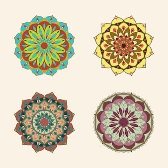 Ensemble de mandala de couleur vintage