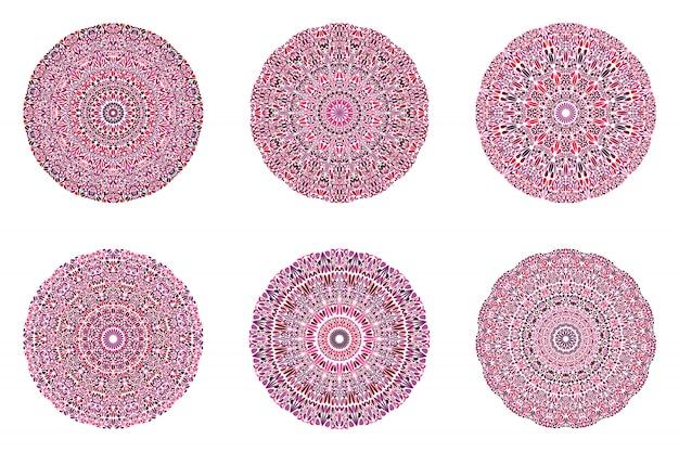Ensemble de mandala d'ornement botanique géométrique rond circulaire
