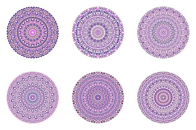 Ensemble de mandala d'ornement en pierre ronde - résumé orné
