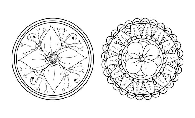 Ensemble de mandala ornement rond symétrique résumé doodle fond coloriage illustration vectorielle