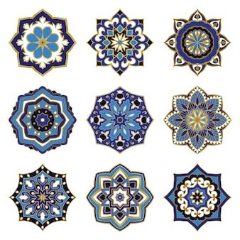 Ensemble de mandalas colorés. mandala coloré en filigrane. mandala oriental.