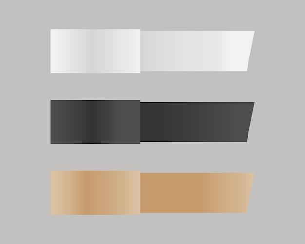 Ensemble de maquette de bande de papier. rubans en papier vierges. vecteur de maquette isolé. conception de modèle. réaliste .