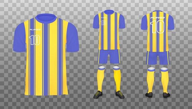 Ensemble de maquette de kit de football à rayures bleues et jaunes vues avant et arrière