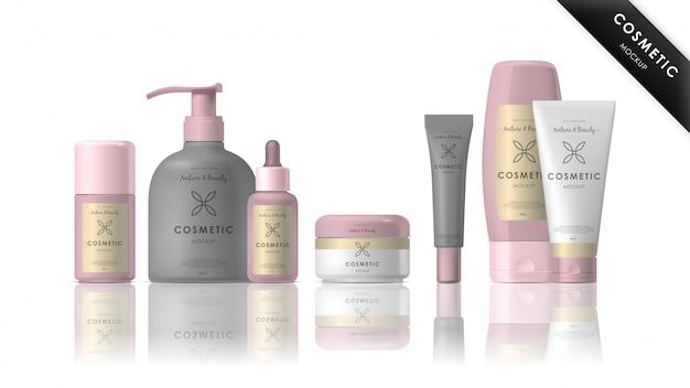 Ensemble de maquette de marque cosmétique réaliste