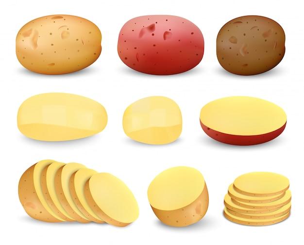 Ensemble de maquette de pommes de terre frites