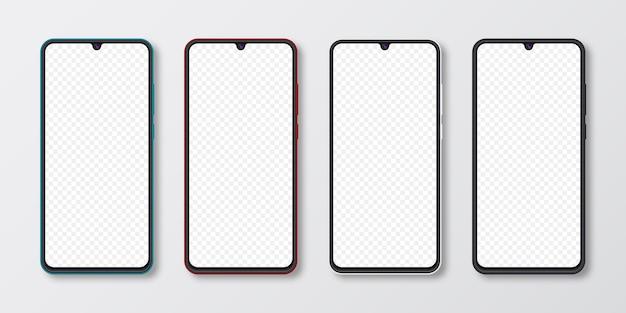 Ensemble de maquette de smartphone réaliste. écran de téléphone portable isolé sur fond gris blanc. illustration de modèle 3d.