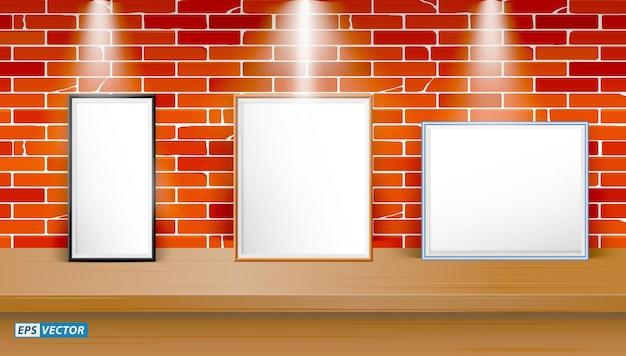 Ensemble de maquette de table vierge réaliste avec fond de mur ou bureau vierge avec éclairage vers le bas ou maquette