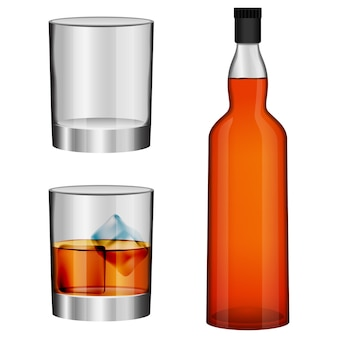 Ensemble de maquette en verre de bouteille de whisky