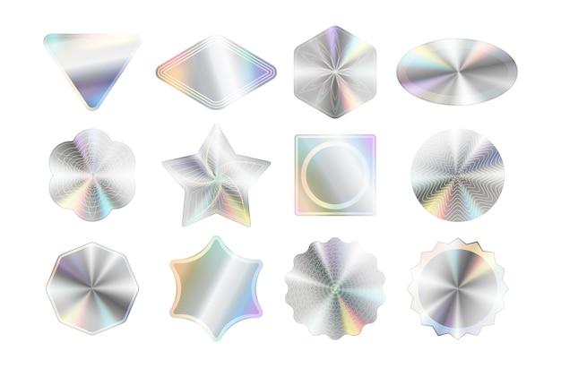 Ensemble de maquettes d'autocollants holographiques