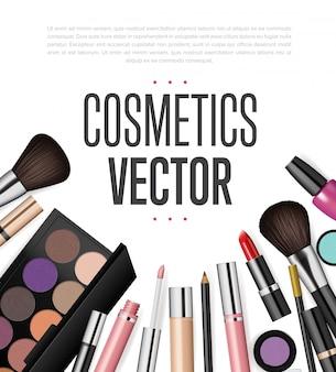 Ensemble de maquettes d'outils cosmétiques réalistes