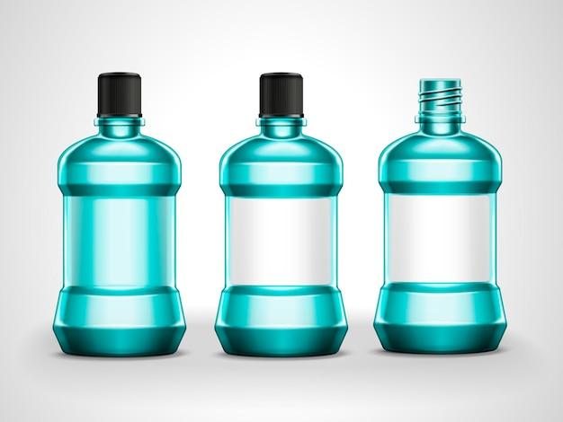 Ensemble de maquettes de rince-bouche, collection de conteneurs d'hygiène vierges