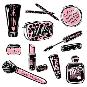 Ensemble de maquillage. éléments de beauté cosmétiques. belle illustration de mode
