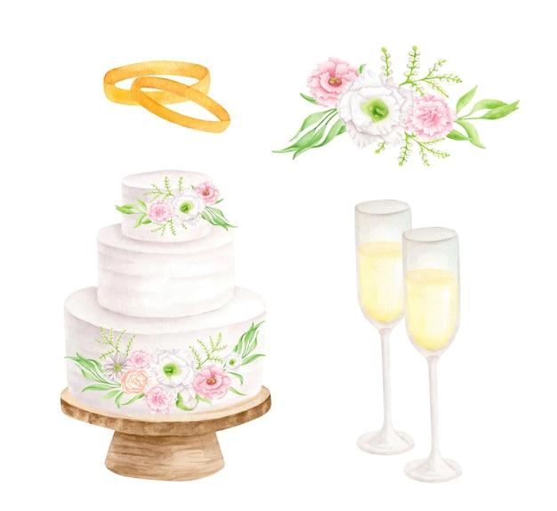 Ensemble de mariage aquarelle avec gâteau blanc à plusieurs niveaux verres de champagne bagues et fleurs en or