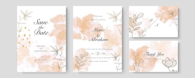 Ensemble de mariage aquarelle. jeu de cartes avec feuilles et cadre géométrique doré. concevoir avec aquarelle orange vert forêt, feuilles, eucalyptus. modèles floraux à la mode pour bannière, flyer, affiche, salutation