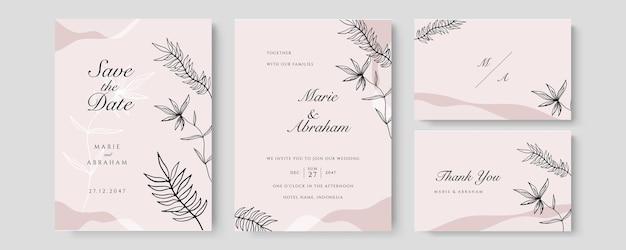 Ensemble de mariage aquarelle. jeu de cartes avec feuilles et cadre géométrique doré. concevoir avec des feuilles vert forêt, eucalyptus, fougère. modèles floraux à la mode pour bannière, flyer, affiche, salutation