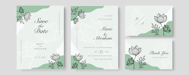 Ensemble de mariage aquarelle. jeu de cartes avec feuilles et feuillage art floral. modèles floraux à la mode pour bannière, flyer, affiche, salutation en couleur pastel en couleur verte