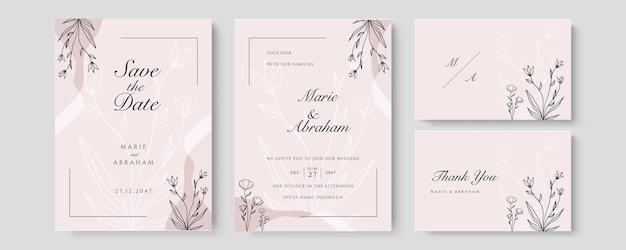 Ensemble de mariage aquarelle. jeu de cartes avec feuilles et feuillage art floral. modèles floraux à la mode pour bannière, flyer, affiche, salutation en couleur pastel