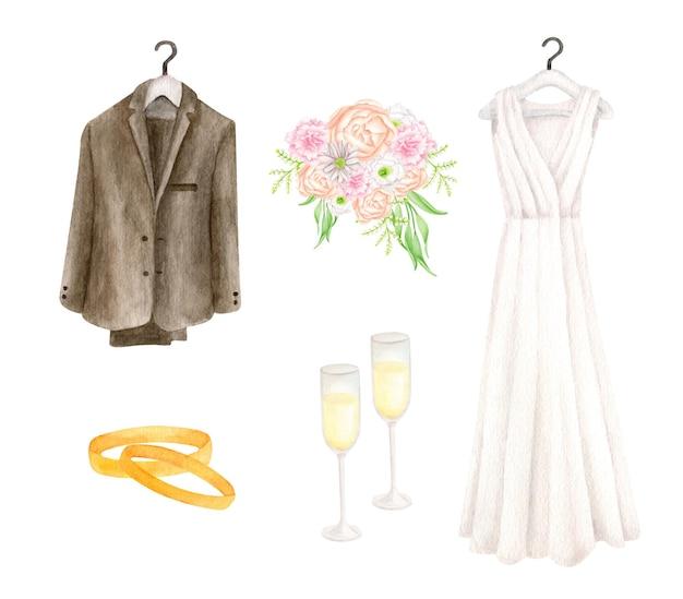 Ensemble de mariage à l'aquarelle avec robe de mariée et costume de marié, verres de champagne, bagues en or et bouquet