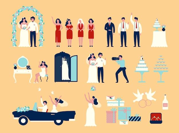 Ensemble de mariage. couple de marié et mariée en robe blanche
