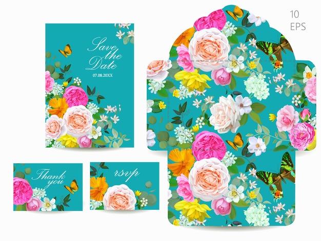 Ensemble de mariage avec des fleurs de printemps