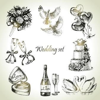 Ensemble de mariage. illustration dessinée à la main