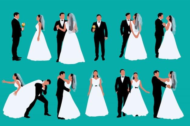 Ensemble marié et mariée bicolore