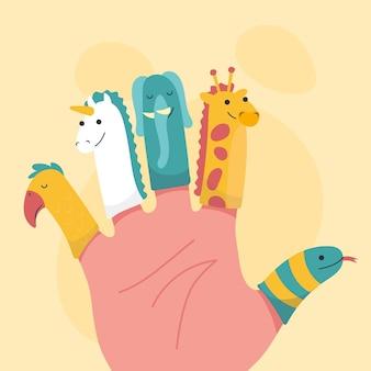 Ensemble de marionnettes à doigt design plat organique