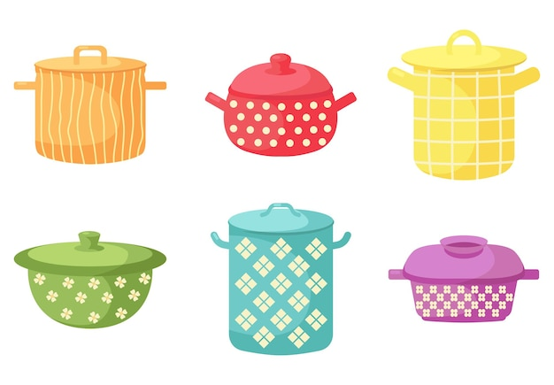 Ensemble de marmites. appareils colorés de cuisine.