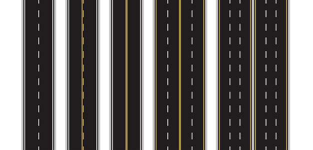 Ensemble de marquage routier sans couture sur blanc