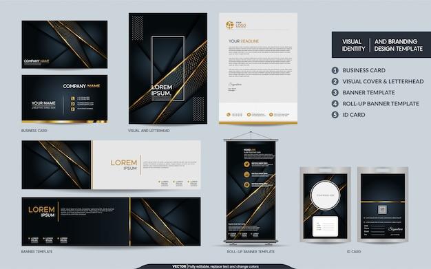 Ensemble de marque de papeterie de luxe en or noir et identité visuelle de la marque avec superpositions superposées