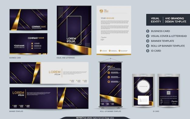 Ensemble de marque de papeterie de luxe violet et identité visuelle de la marque avec superposition de couches superposées