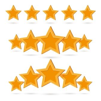Ensemble de marques d'insignes d'évaluation de produit de qualité cinq étoiles en or. évaluation des commentaires positifs, classe de taux, note d'excellence et illustration vectorielle de haut rang isolée sur fond blanc