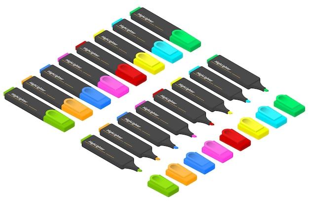 Un ensemble de marqueurs de différentes couleurs dans une vue isométrique. surligneurs multicolores. papeterie pour élèves et étudiants. marqueurs pour mettre en évidence les importants. illustration vectorielle.