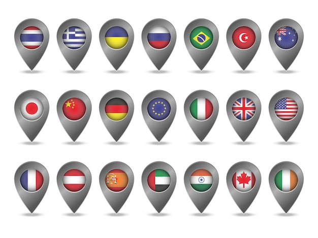 Ensemble de marqueurs avec des drapeaux. illustration vectorielle.