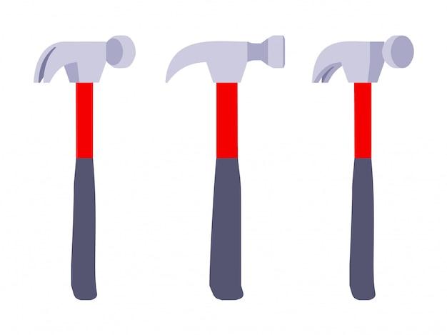 Ensemble des marteaux avec manche rouge et noir.