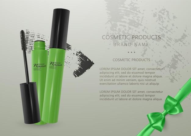 Ensemble de mascara réaliste et coup de pinceau, beauté et illustration cosmétique.