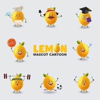 Ensemble de mascotte citron dans plusieurs poses
