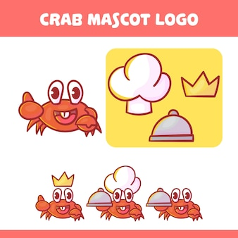 Ensemble de mascotte de crabe mignon avec apparence facultative